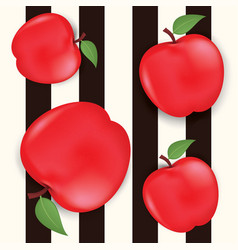 seamless background with red apples and leaves vector image