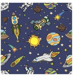 Seamless pattern with outer space doodles symbols vector