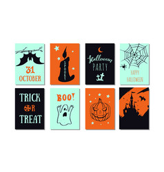 set halloween party banners invitations vector image