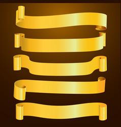 Set horizontal blank gold curved paper ribbon vector