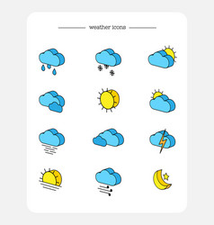 Set isometric 3d icons weather forecast vector