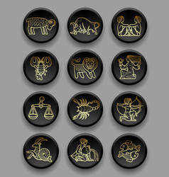 set of black round icons with gold linear vector image