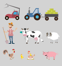 set of farm animals and equipment vector image vector image