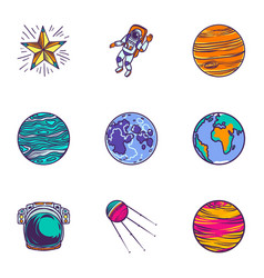 space universe icon set hand drawn style vector image