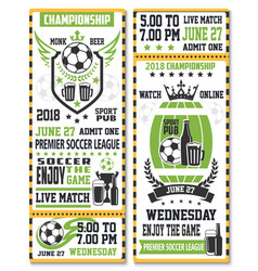Sport game ticket for soccer match vector