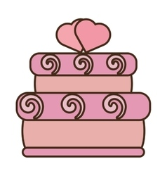 tasty pink cake two hearts wedding icon vector image