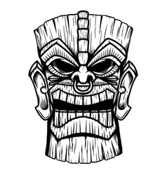 tiki tribal wooden mask design element for logo vector image