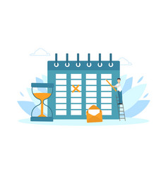 tiny businessman planning schedule time vector image