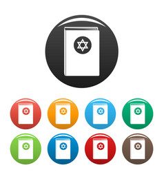 Torah book icons set color vector