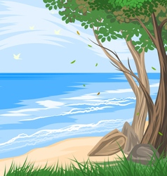 Trees on the beach vector