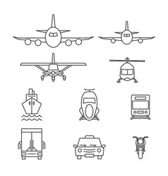 vehicle icon sets line icons vector image