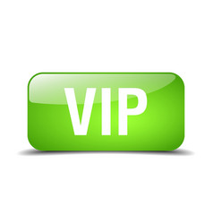 Vip green square 3d realistic isolated web button vector