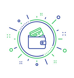 Wallet with credit card line icon cash money vector