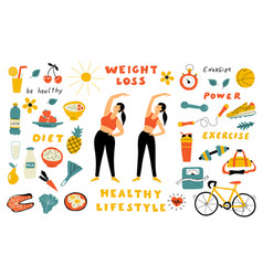 weight loss healthy food cute doodle set vector image
