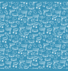 winter scarves mittens seamless pattern vector image