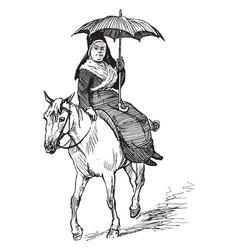 Woman on mule vintage vector