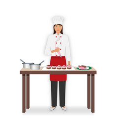 young woman confectioner decorate desserts with vector image