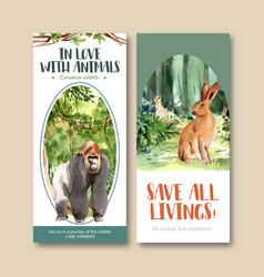Zoo flyer design with gorilla rabbit meerkat vector
