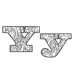 anti coloring book alphabet the letter y vector image vector image