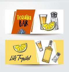banners with tequila bottle shot lemon salt vector image vector image