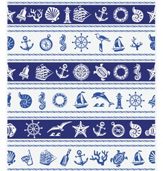 Borders with Nautical and sea symbols vector image