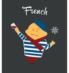 French man cartoon character citizen France in vector image vector image