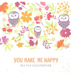 owls and flowers background vector image vector image