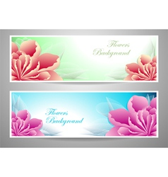 Two flowers banners red magenta peony vector image vector image