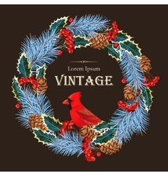 Card with winter wreath vector image vector image