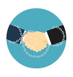 chained handshake icon vector image