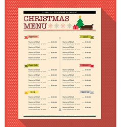 Christmas menu food and drink design template vector image
