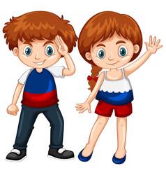 cute boy and girl waving hands vector image vector image