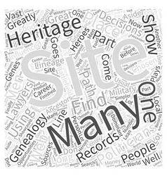 genealogy web site Word Cloud Concept vector image