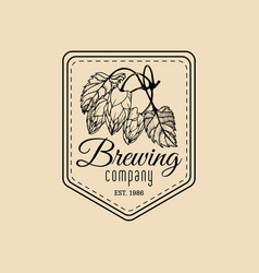 vintage hops logo brewery herbs design vector image