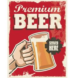 Vintage style beer sign - Poster banner design vector image