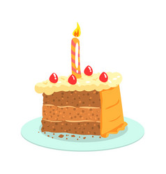 birthday cake with candle celebration party vector image vector image