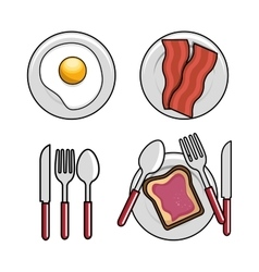 different breakfast dishes egg spoon fork knife vector image