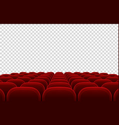 Empty movie theater auditorium with red seats vector