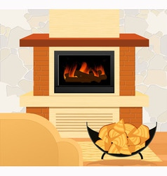 Fireplace and firewood vector image