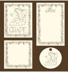 Grape Menu Pages Card and Tag Design Set vector image vector image