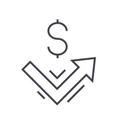 growth up money line icon sign vector image vector image
