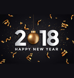 Holiday new year card - 2018 black and gold vector