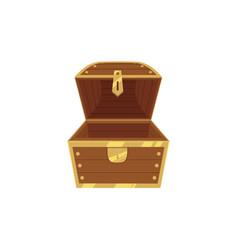 open empty wooden pirate treasure chest vector image