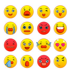 smiles icons set cartoon style vector image vector image