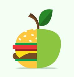 hamburger and apple halves vector image vector image