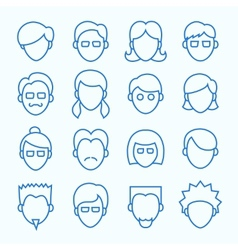 Simple Line Faces Icons Set vector image
