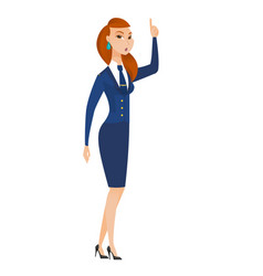 Stewardess with open mouth pointing finger up vector