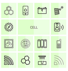 14 cell icons vector image