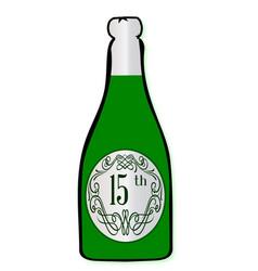 15th celebration wine bottle vector
