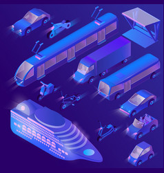 3d isometric ultra violet urban vector